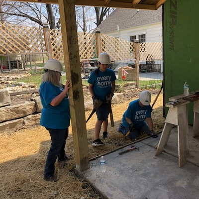Farm Bureau volunteers working on the Build 28 porch